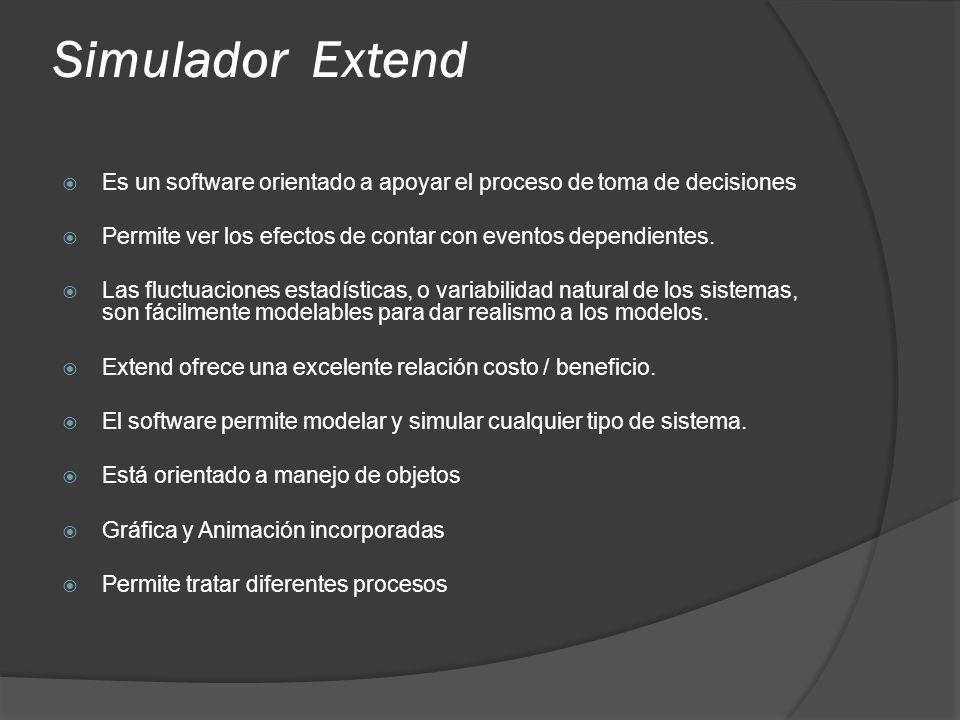 Simulador Extend Es un software orientado a apoyar el proceso de toma de decisiones Permite ver los efectos de contar con eventos dependientes. Las fl