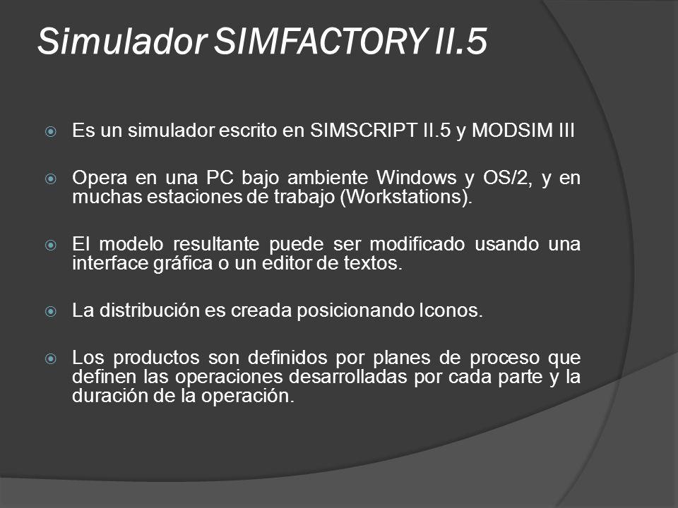 Simulador SIMFACTORY II.5 Es un simulador escrito en SIMSCRIPT II.5 y MODSIM III Opera en una PC bajo ambiente Windows y OS/2, y en muchas estaciones