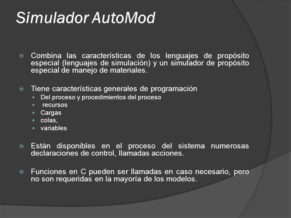 Simulador AutoMod Combina las características de los lenguajes de propósito especial (lenguajes de simulación) y un simulador de propósito especial de