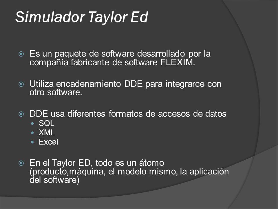 Simulador Taylor Ed Es un paquete de software desarrollado por la compañía fabricante de software FLEXIM. Utiliza encadenamiento DDE para integrarce c
