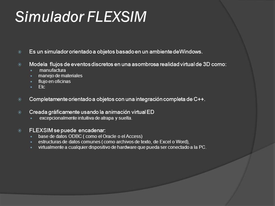 Simulador FLEXSIM Es un simulador orientado a objetos basado en un ambiente deWindows. Modela flujos de eventos discretos en una asombrosa realidad vi