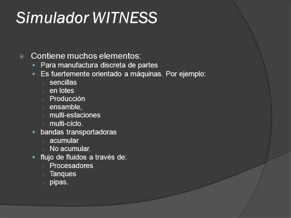 Simulador WITNESS Contiene muchos elementos: Para manufactura discreta de partes Es fuertemente orientado a máquinas. Por ejemplo: sencillas en lotes