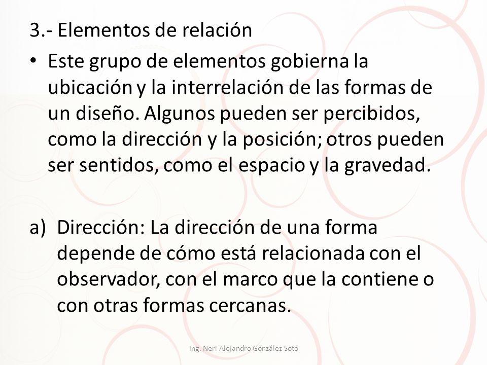 3.- Elementos de relación Este grupo de elementos gobierna la ubicación y la interrelación de las formas de un diseño. Algunos pueden ser percibidos,