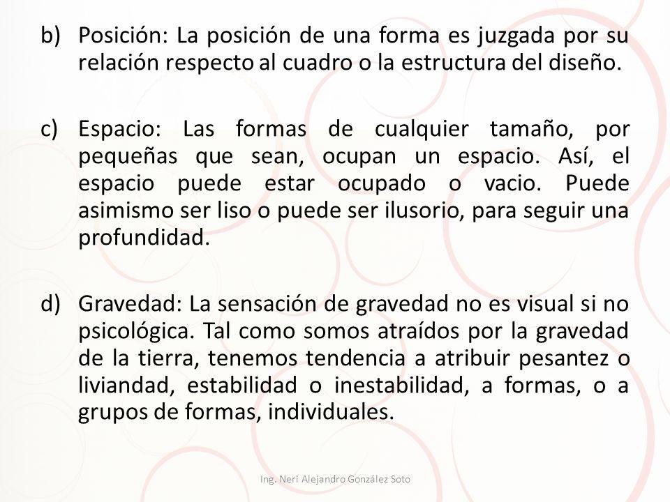 b)Posición: La posición de una forma es juzgada por su relación respecto al cuadro o la estructura del diseño. c)Espacio: Las formas de cualquier tama