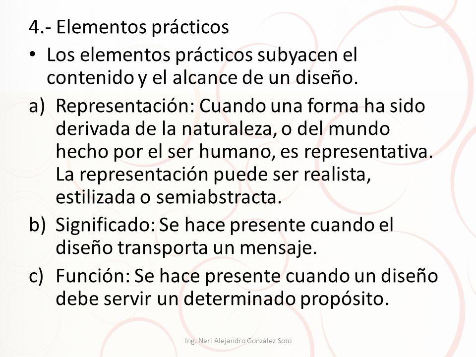 4.- Elementos prácticos Los elementos prácticos subyacen el contenido y el alcance de un diseño. a)Representación: Cuando una forma ha sido derivada d