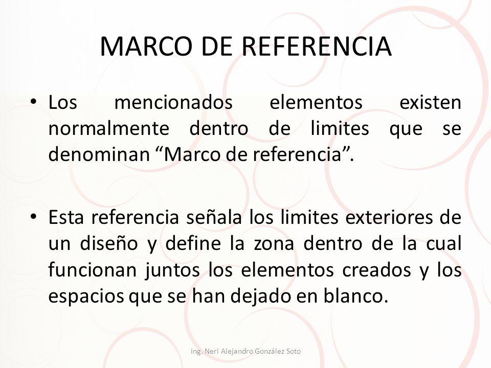 MARCO DE REFERENCIA Los mencionados elementos existen normalmente dentro de limites que se denominan Marco de referencia. Esta referencia señala los l