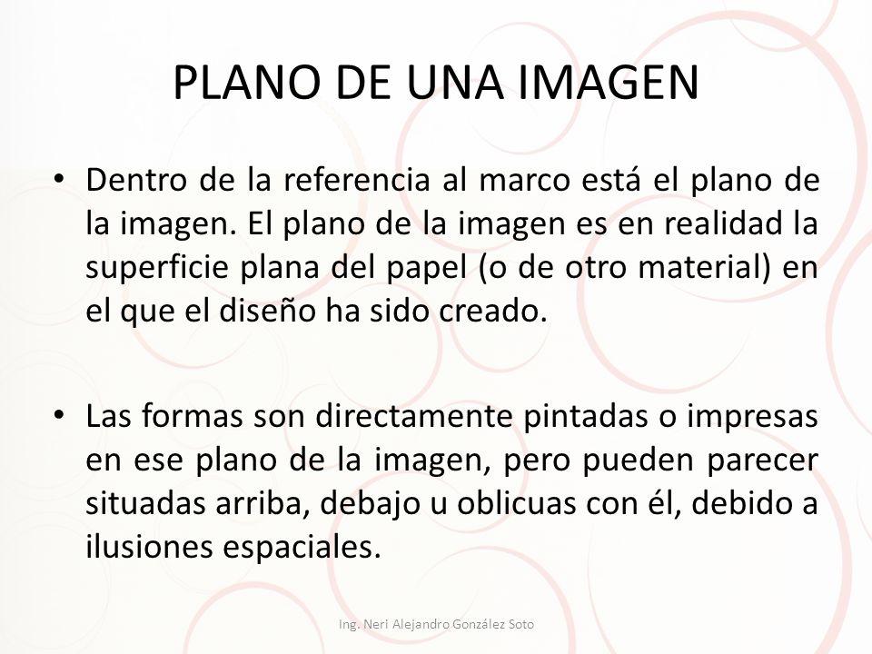 PLANO DE UNA IMAGEN Dentro de la referencia al marco está el plano de la imagen. El plano de la imagen es en realidad la superficie plana del papel (o