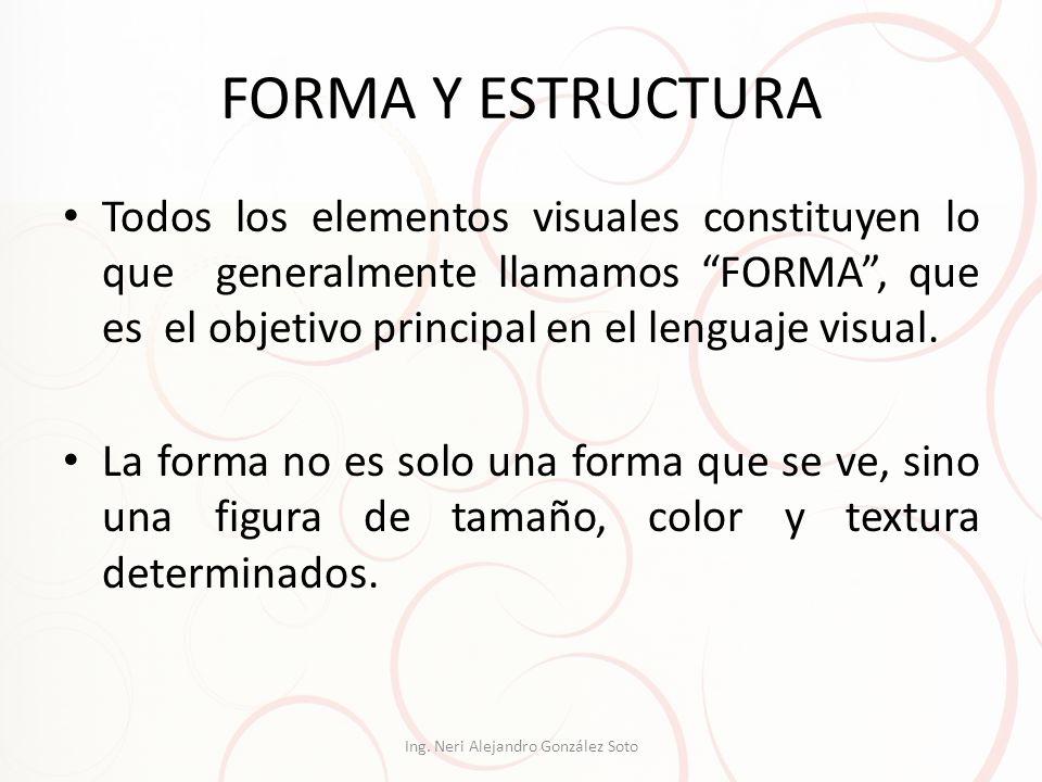 FORMA Y ESTRUCTURA Todos los elementos visuales constituyen lo que generalmente llamamos FORMA, que es el objetivo principal en el lenguaje visual. La