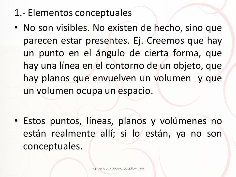 1.- Elementos conceptuales No son visibles. No existen de hecho, sino que parecen estar presentes. Ej. Creemos que hay un punto en el ángulo de cierta