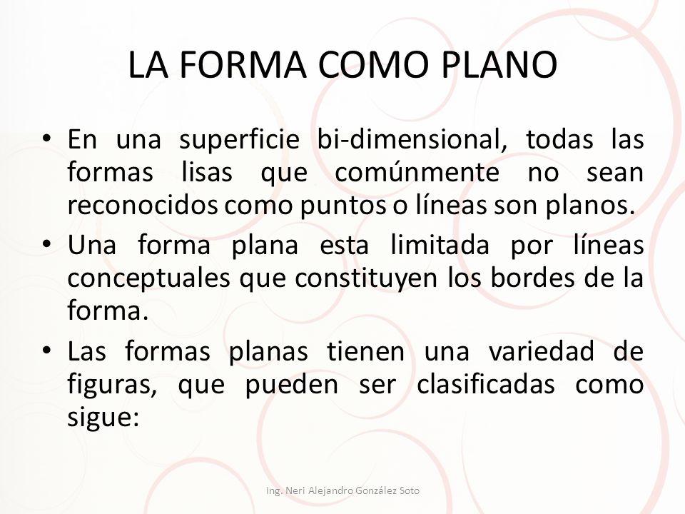 LA FORMA COMO PLANO En una superficie bi-dimensional, todas las formas lisas que comúnmente no sean reconocidos como puntos o líneas son planos. Una f