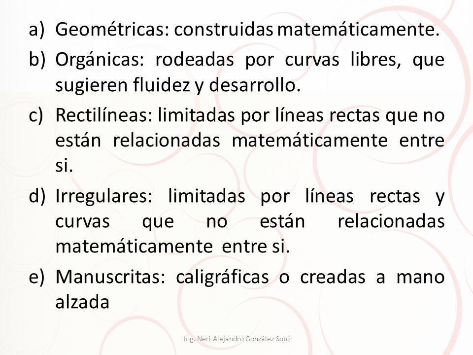 a)Geométricas: construidas matemáticamente. b)Orgánicas: rodeadas por curvas libres, que sugieren fluidez y desarrollo. c)Rectilíneas: limitadas por l