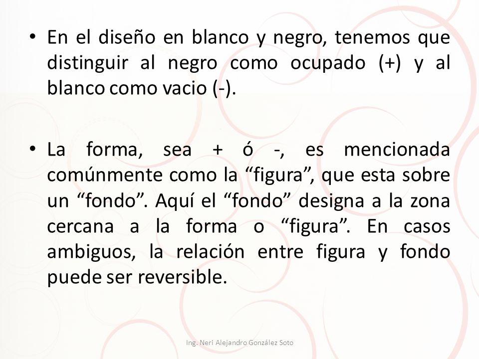 En el diseño en blanco y negro, tenemos que distinguir al negro como ocupado (+) y al blanco como vacio (-). La forma, sea + ó -, es mencionada comúnm