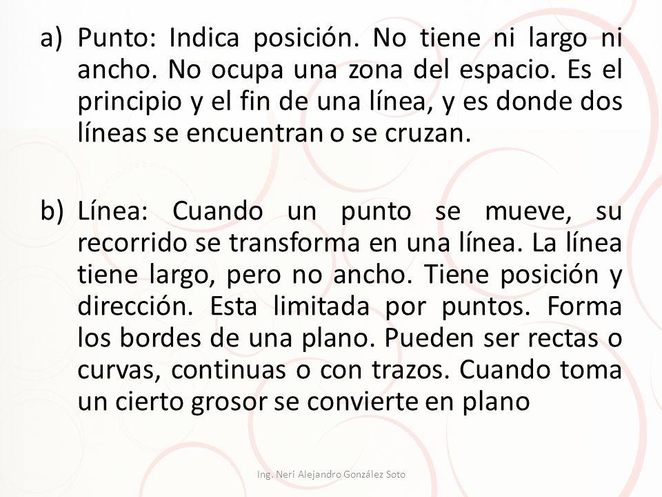a)Punto: Indica posición. No tiene ni largo ni ancho. No ocupa una zona del espacio. Es el principio y el fin de una línea, y es donde dos líneas se e
