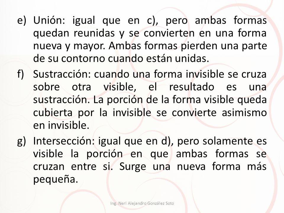 e)Unión: igual que en c), pero ambas formas quedan reunidas y se convierten en una forma nueva y mayor. Ambas formas pierden una parte de su contorno