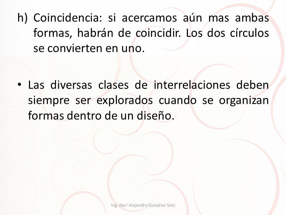 h)Coincidencia: si acercamos aún mas ambas formas, habrán de coincidir. Los dos círculos se convierten en uno. Las diversas clases de interrelaciones
