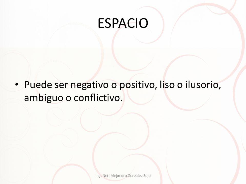ESPACIO Puede ser negativo o positivo, liso o ilusorio, ambiguo o conflictivo. Ing. Neri Alejandro González Soto