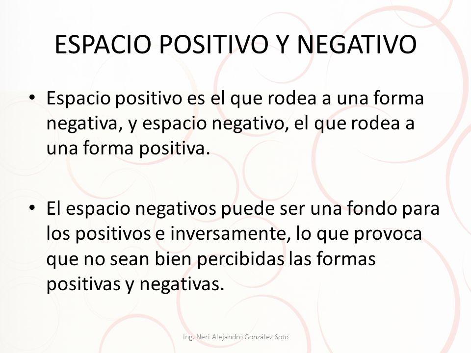 ESPACIO POSITIVO Y NEGATIVO Espacio positivo es el que rodea a una forma negativa, y espacio negativo, el que rodea a una forma positiva. El espacio n