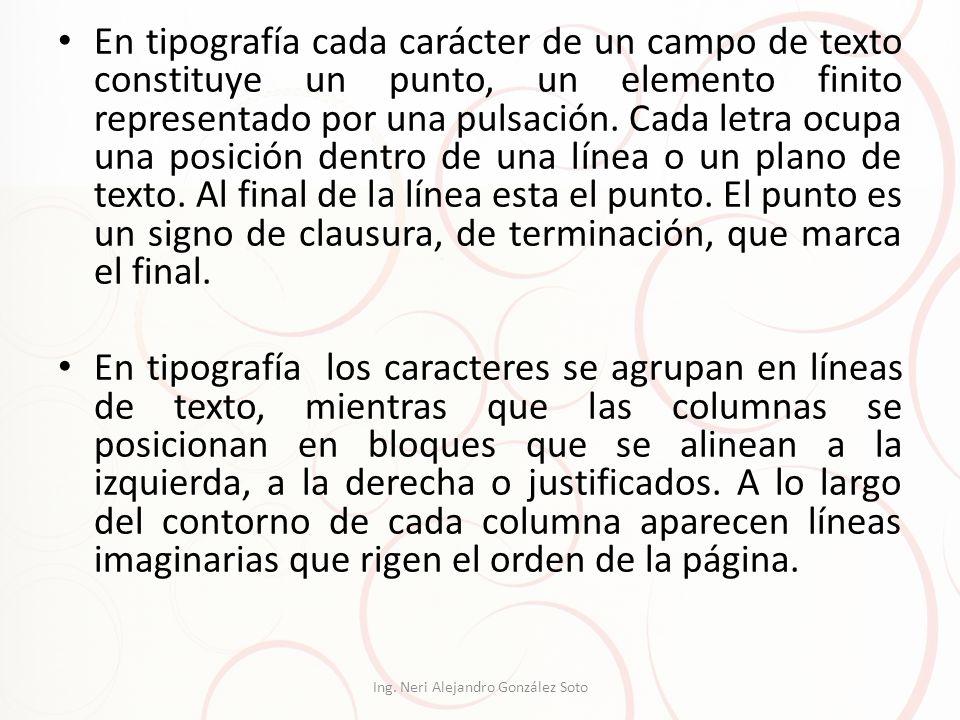 En tipografía cada carácter de un campo de texto constituye un punto, un elemento finito representado por una pulsación. Cada letra ocupa una posición