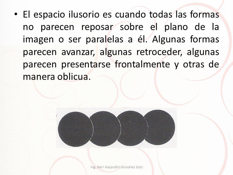 El espacio ilusorio es cuando todas las formas no parecen reposar sobre el plano de la imagen o ser paralelas a él. Algunas formas parecen avanzar, al