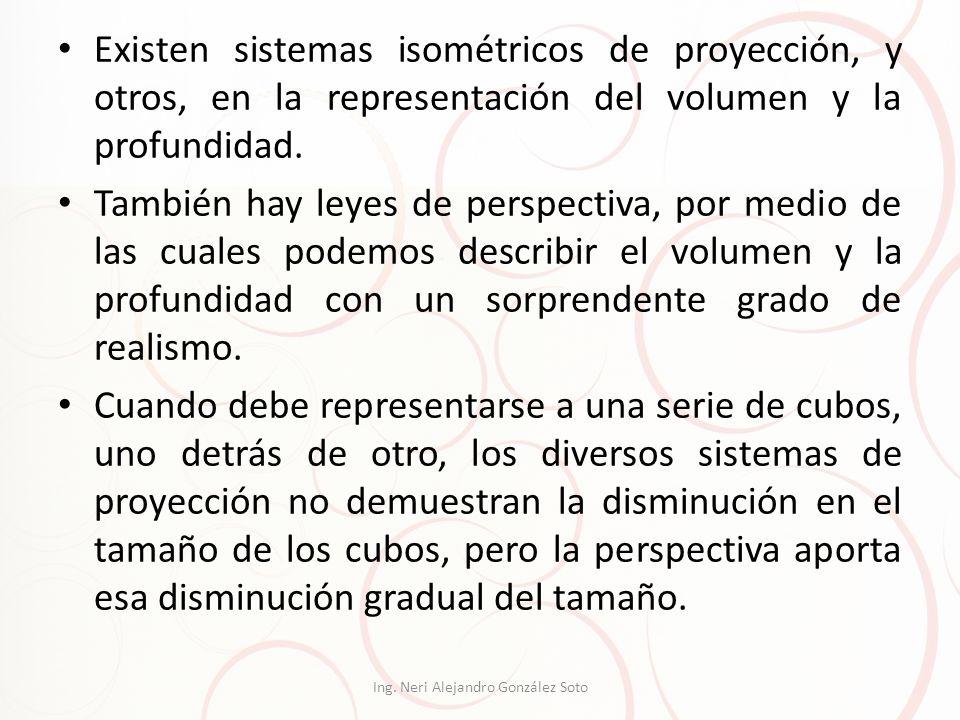 Existen sistemas isométricos de proyección, y otros, en la representación del volumen y la profundidad. También hay leyes de perspectiva, por medio de