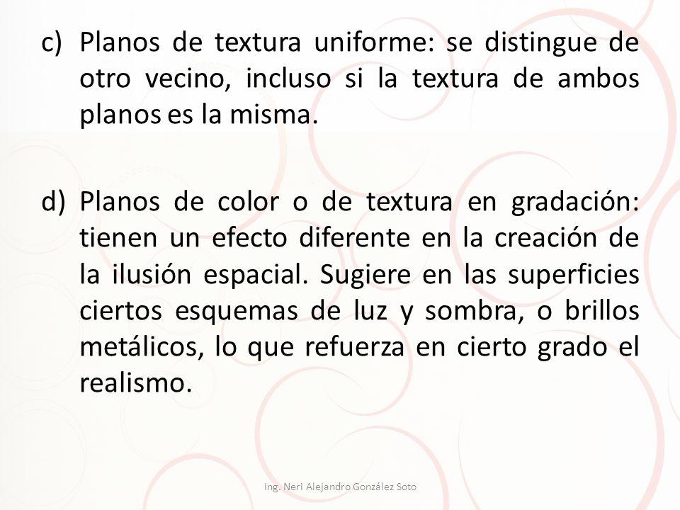 c)Planos de textura uniforme: se distingue de otro vecino, incluso si la textura de ambos planos es la misma. d)Planos de color o de textura en gradac