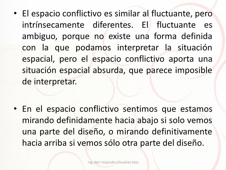 El espacio conflictivo es similar al fluctuante, pero intrínsecamente diferentes. El fluctuante es ambiguo, porque no existe una forma definida con la