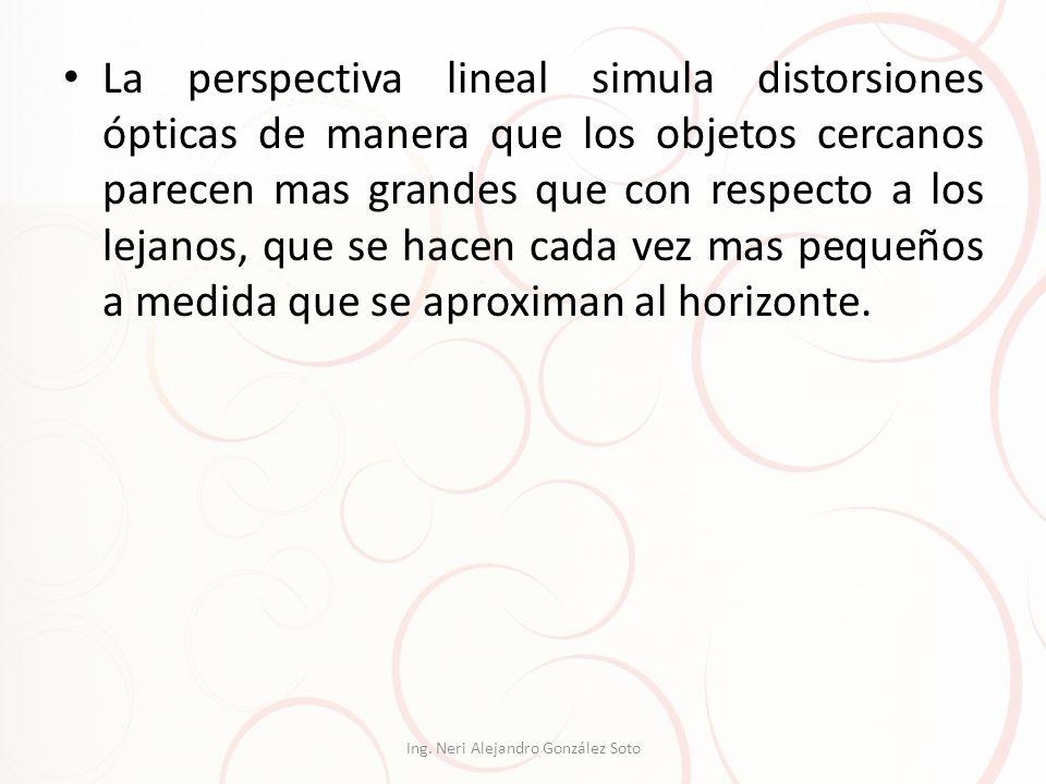 La perspectiva lineal simula distorsiones ópticas de manera que los objetos cercanos parecen mas grandes que con respecto a los lejanos, que se hacen