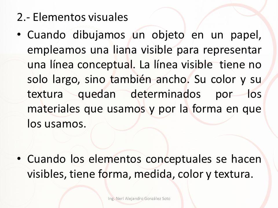 2.- Elementos visuales Cuando dibujamos un objeto en un papel, empleamos una liana visible para representar una línea conceptual. La línea visible tie