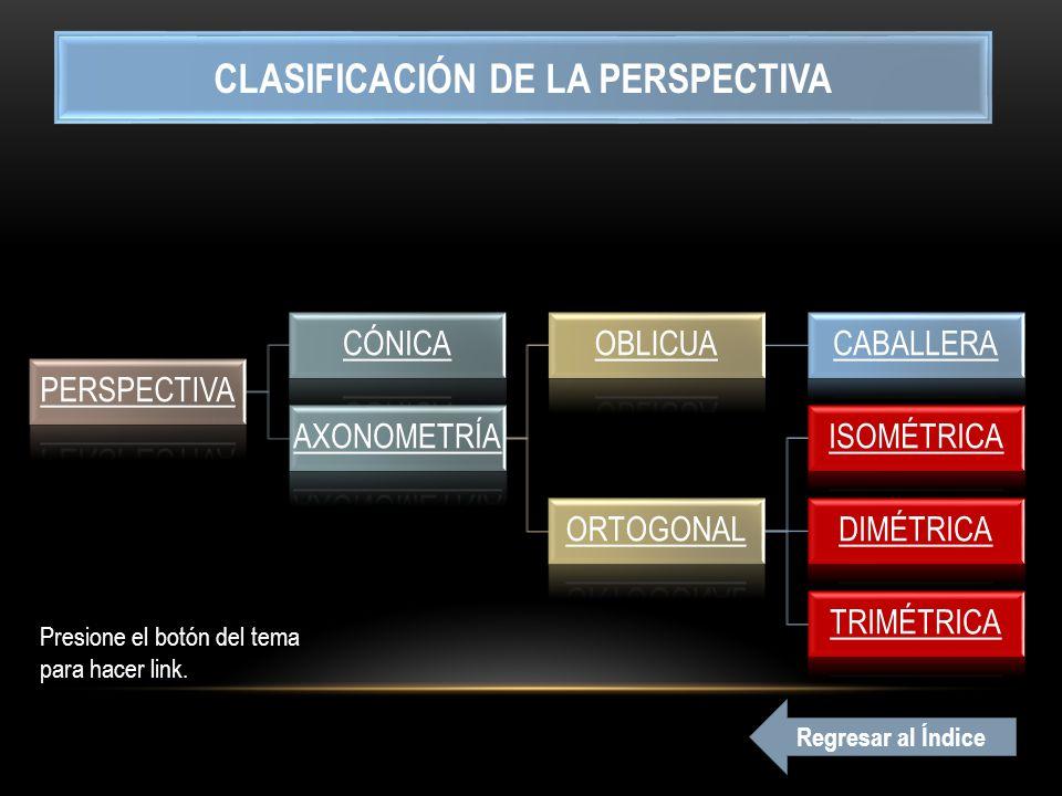 PERSPECTIVA CÓNICA AXONOMETRÍA OBLICUACABALLERA ORTOGONAL ISOMÉTRICA DIMÉTRICA TRIMÉTRICA CLASIFICACIÓN DE LA PERSPECTIVA Presione el botón del tema para hacer link.