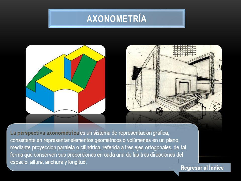 AXONOMETRÍA La perspectiva axonométrica es un sistema de representación gráfica, consistente en representar elementos geométricos o volúmenes en un plano, mediante proyección paralela o cilíndrica, referida a tres ejes ortogonales, de tal forma que conserven sus proporciones en cada una de las tres direcciones del espacio: altura, anchura y longitud.