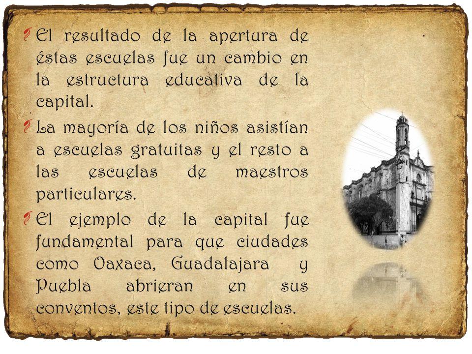 ¶ En la capital había 34 sitios designados para escuelas particulares y en dos conventos de frailes los niños asistían gratuitamente.
