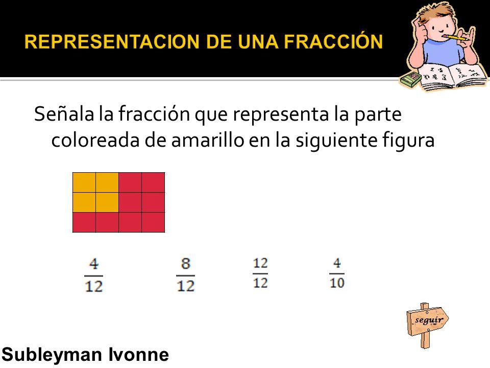 Señala la fracción que representa la parte coloreada de amarillo en la siguiente figura Subleyman Ivonne Usman Narváez