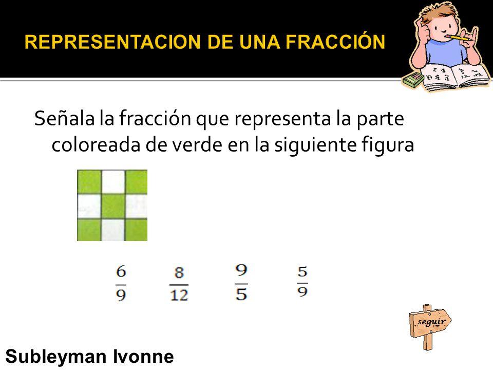 Señala la fracción que representa la parte coloreada de verde en la siguiente figura Subleyman Ivonne Usman Narváez