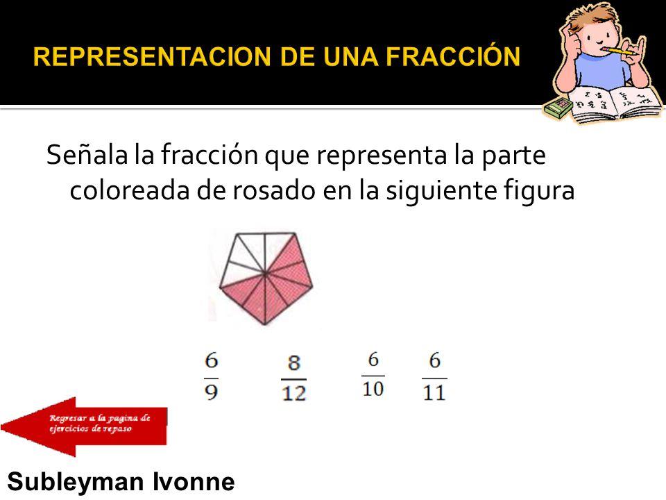 Señala la fracción que representa la parte coloreada de rosado en la siguiente figura Subleyman Ivonne Usman Narváez