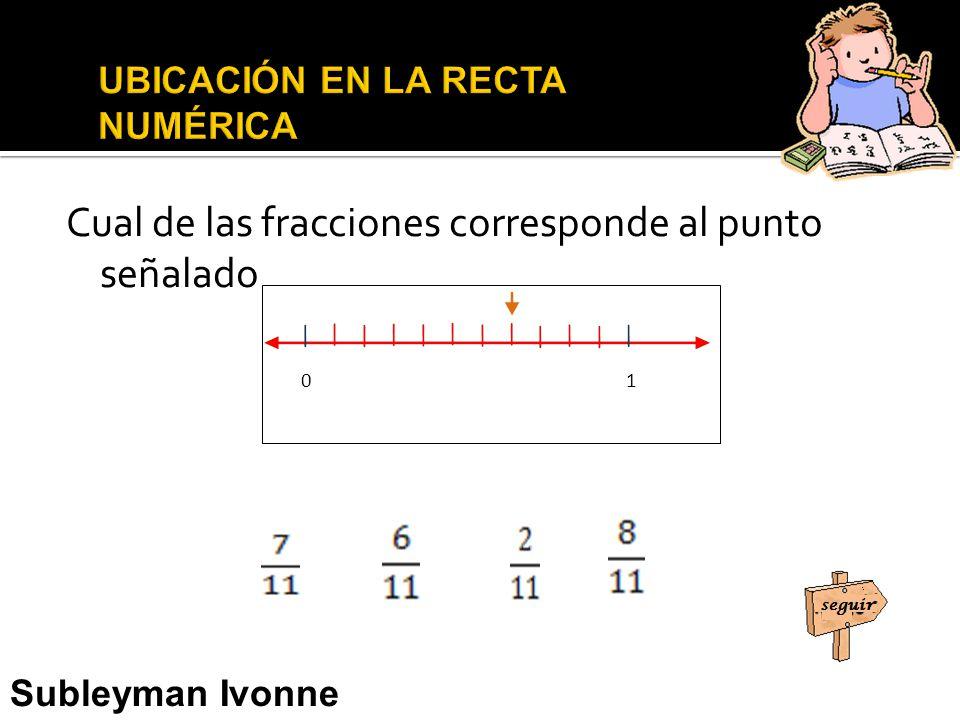 Cual de las fracciones corresponde al punto señalado 0 1 Subleyman Ivonne Usman Narváez