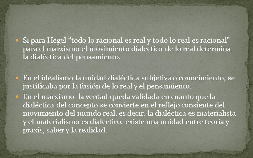Si para Hegel todo lo racional es real y todo lo real es racional para el marxismo el movimiento dialectico de lo real determina la dialéctica del pen