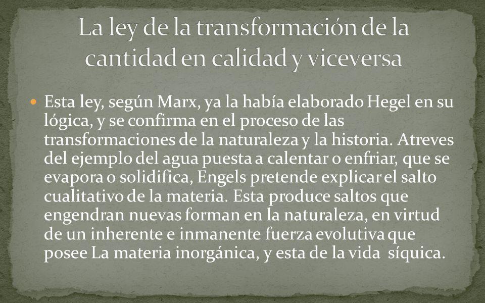 Esta ley, según Marx, ya la había elaborado Hegel en su lógica, y se confirma en el proceso de las transformaciones de la naturaleza y la historia.