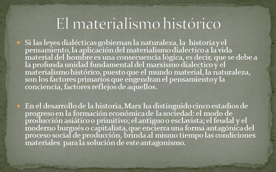 Si las leyes dialécticas gobiernan la naturaleza, la historia y el pensamiento, la aplicación del materialismo dialectico a la vida material del hombr