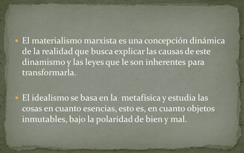 El materialismo marxista es una concepción dinámica de la realidad que busca explicar las causas de este dinamismo y las leyes que le son inherentes para transformarla.
