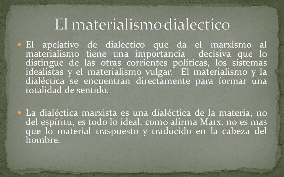 El apelativo de dialectico que da el marxismo al materialismo tiene una importancia decisiva que lo distingue de las otras corrientes políticas, los sistemas idealistas y el materialismo vulgar.