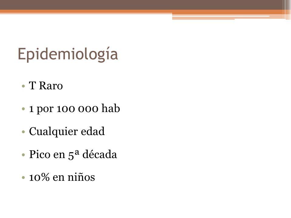 Epidemiología T Raro 1 por 100 000 hab Cualquier edad Pico en 5ª década 10% en niños