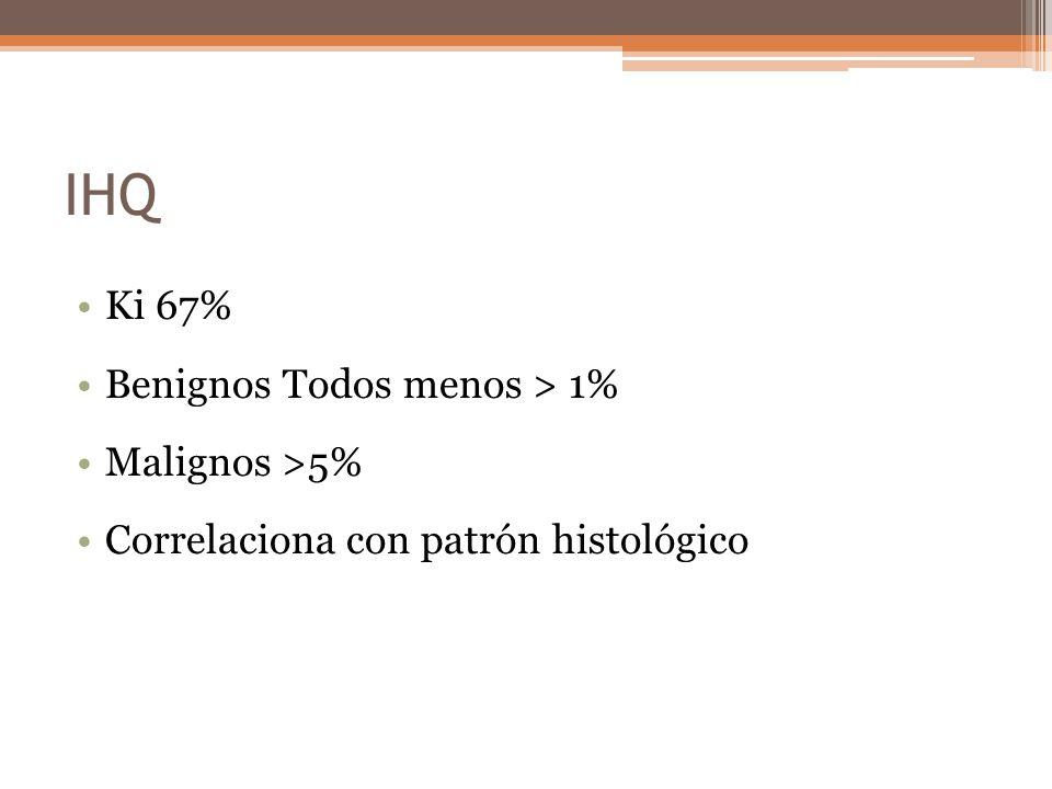 IHQ Ki 67% Benignos Todos menos > 1% Malignos >5% Correlaciona con patrón histológico