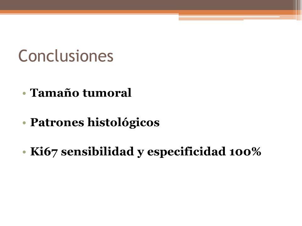 Conclusiones Tamaño tumoral Patrones histológicos Ki67 sensibilidad y especificidad 100%