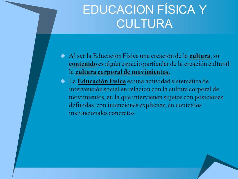 EDUCACION FÍSICA Y CULTURA Al ser la Educación Física una creación de la cultura, su contenido es algún espacio particular de la creación cultural: la cultura corporal de movimientos.