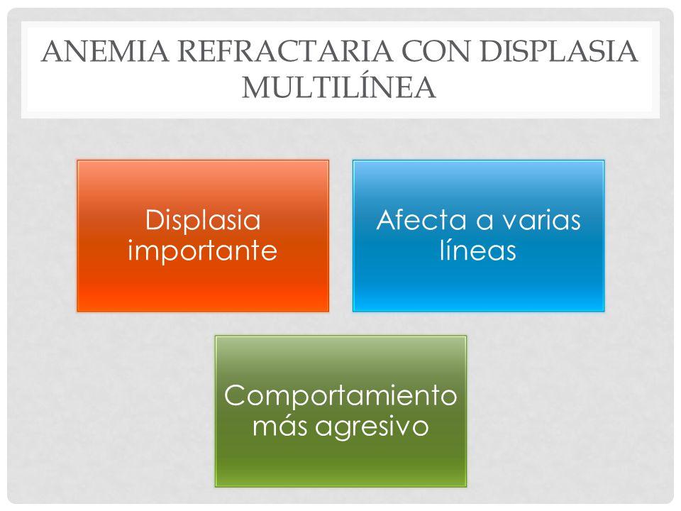 ANEMIA REFRACTARIA CON DISPLASIA MULTILÍNEA Displasia importante Afecta a varias líneas Comportamiento más agresivo