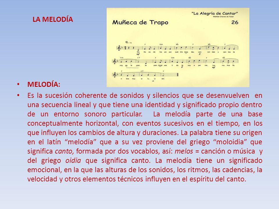 LA MELODÍA MELODÍA: Es la sucesión coherente de sonidos y silencios que se desenvuelven en una secuencia lineal y que tiene una identidad y significad