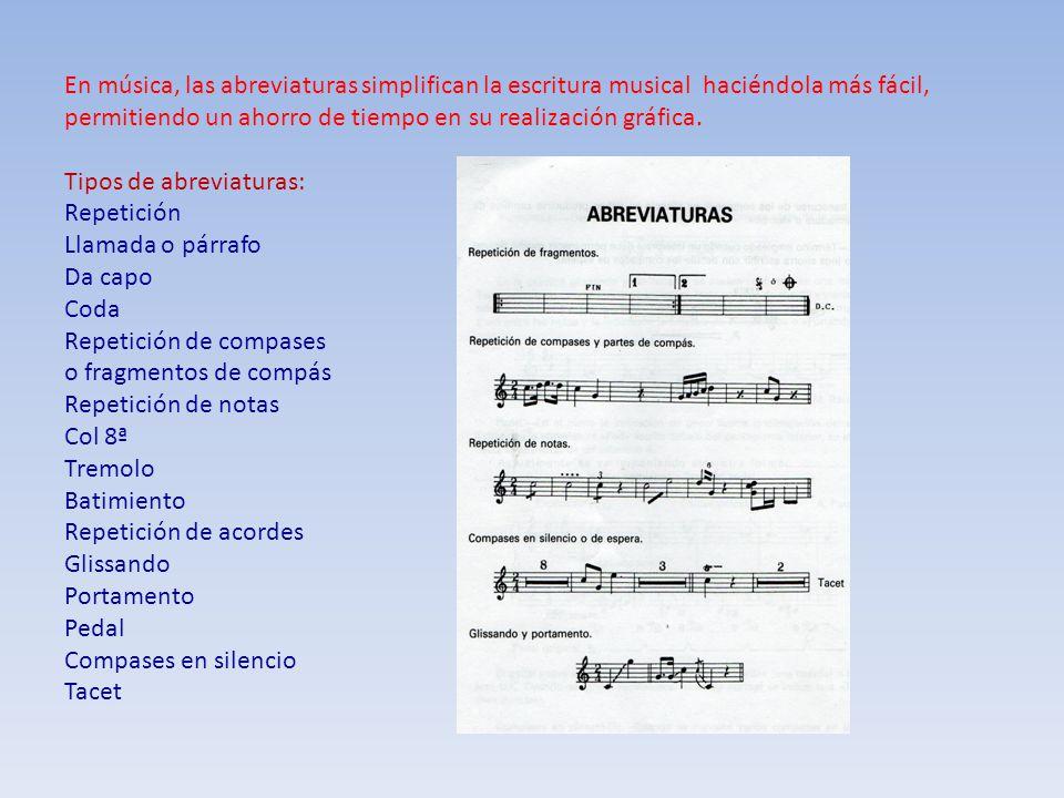 En música, las abreviaturas simplifican la escritura musical haciéndola más fácil, permitiendo un ahorro de tiempo en su realización gráfica. Tipos de