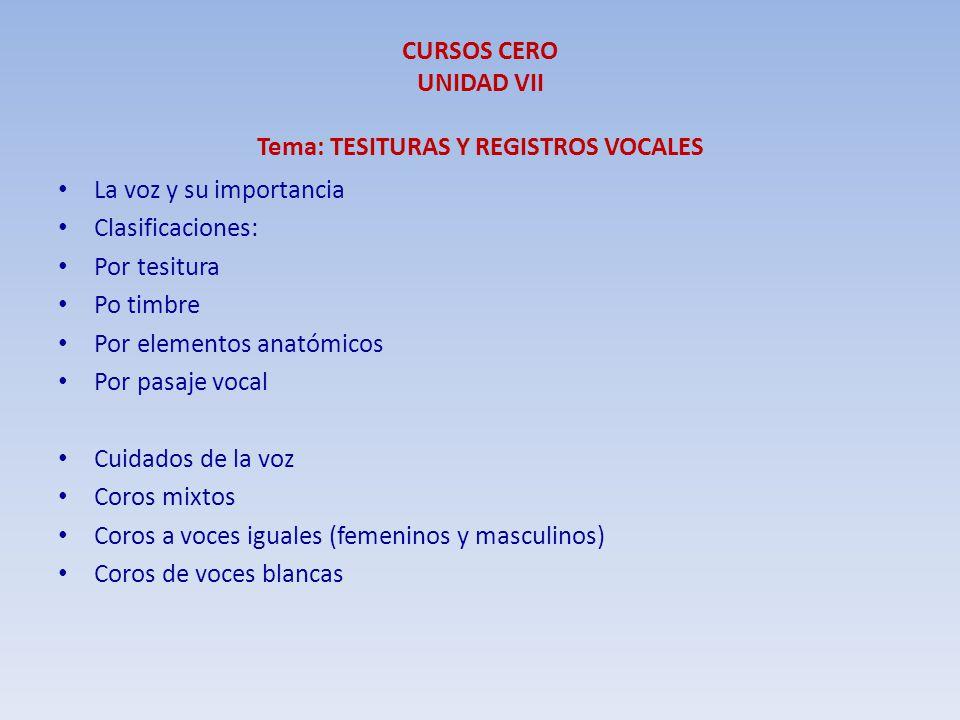 CURSOS CERO UNIDAD VII Tema: TESITURAS Y REGISTROS VOCALES La voz y su importancia Clasificaciones: Por tesitura Po timbre Por elementos anatómicos Po