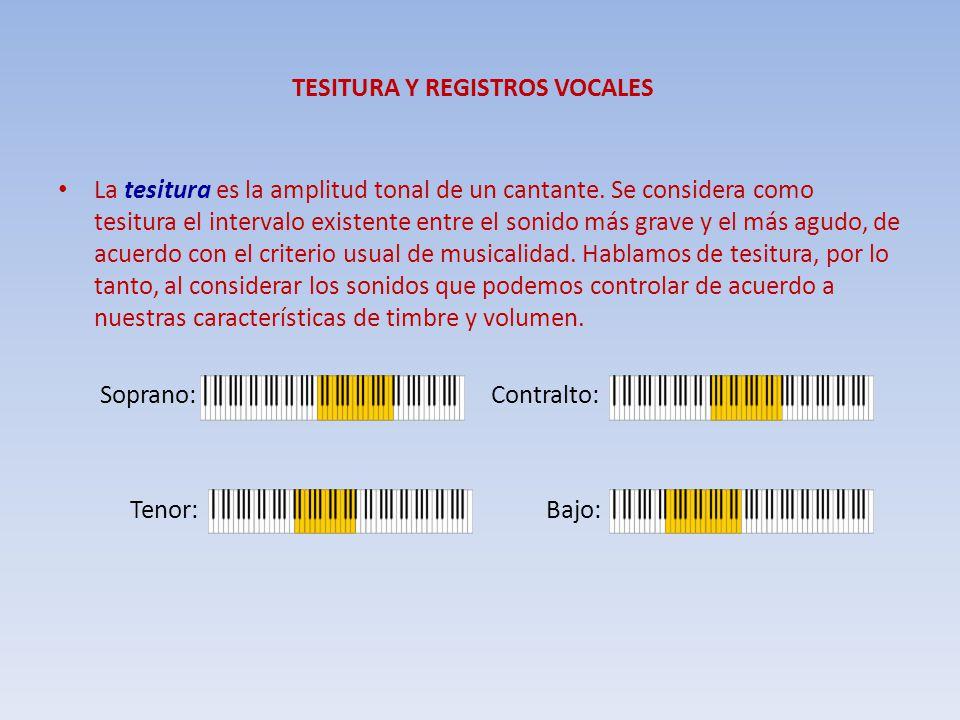 TESITURA Y REGISTROS VOCALES La tesitura es la amplitud tonal de un cantante. Se considera como tesitura el intervalo existente entre el sonido más gr