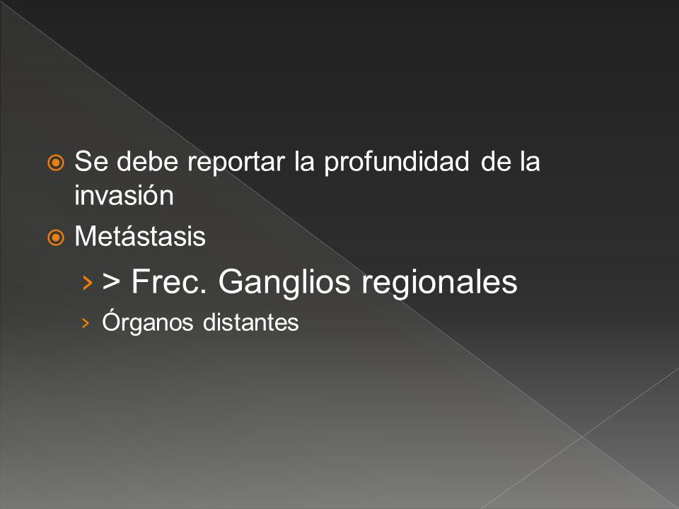 Se debe reportar la profundidad de la invasión Metástasis > Frec. Ganglios regionales Órganos distantes